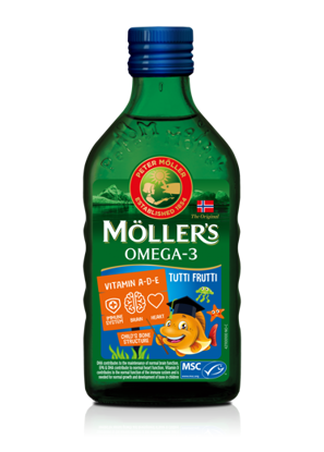 სურათი Möller's-ის ვირთევზას ღვიძლის ზეთი TUTTI FRUTTI
