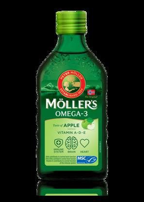 სურათი Möller's-ის ვირთევზას ღვიძლის ზეთი მწვანე ვაშლის გემოთი